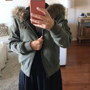 Fur trim hood reversible stussy bomber jacket